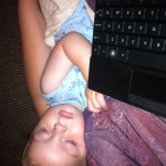 Little Lachie, helping me write his birth day blog post.
